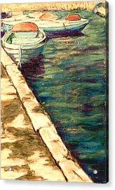 Blue Boats At Llangorse Wales Acrylic Print by Judy Adamson