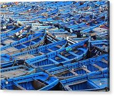 Acrylic Print featuring the photograph Blue Boats Of Essaouira by Ramona Johnston