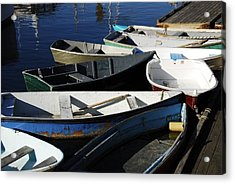 Acrylic Print featuring the photograph Blue Boats Of Rockport by AnnaJanessa PhotoArt