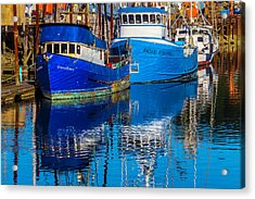 Blue Boats Reflection Acrylic Print by Garry Gay