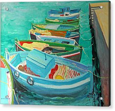 Blue Boats Acrylic Print by William Ireland