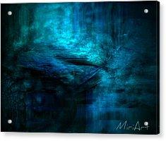 Blue Bridge Abstract Acrylic Print by Miriam Shaw