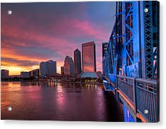 Blue Bridge Red Sky Jacksonville Skyline Acrylic Print by Debra and Dave Vanderlaan