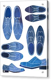 Blue Brogue Shoes Acrylic Print