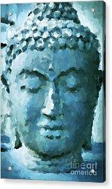 Blue Buddha Acrylic Print by KaFra Art