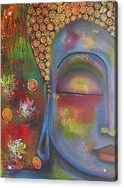 Buddha In Blue Meditating  Acrylic Print