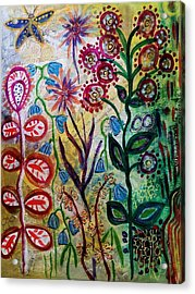 Blue Bug In The Magic Garden Acrylic Print by Mimulux patricia no No