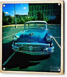 Acrylic Print featuring the mixed media Blue Buick by Terry Rowe