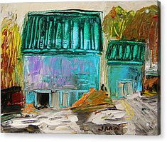 Blue Buildings Together-musing Acrylic Print by John Williams