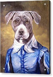 Acrylic Print featuring the painting Blue Bully Boy by Laura Aceto