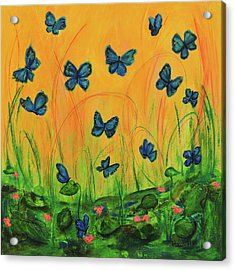 Blue Butterflies In Early Morning Garden Acrylic Print