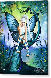 Blue Butterfly Fairy In A Tree Acrylic Print