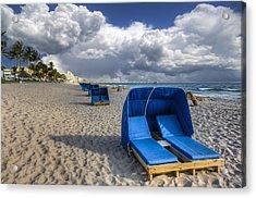 Blue Cabana Acrylic Print by Debra and Dave Vanderlaan