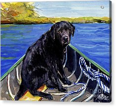Acrylic Print featuring the painting Blue Canoe by Molly Poole