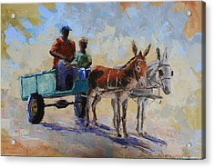 Blue Cart Acrylic Print by Yvonne Ankerman