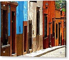Blue Casa Row Acrylic Print by Mexicolors Art Photography