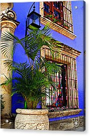Blue Casa With Fern Acrylic Print by Mexicolors Art Photography