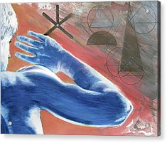 Acrylic Print featuring the painting Blue Celestial  by Rene Capone