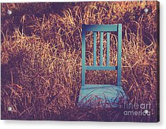 Blue Chair Out In A Field Of Talll Grass Acrylic Print by Edward Fielding