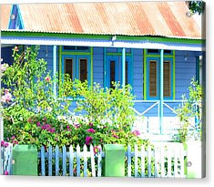 Blue Chattel House Acrylic Print by Barbara Marcus