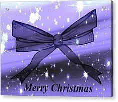 Blue Christmas Bow Acrylic Print