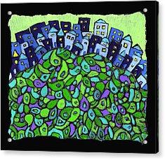 Blue City On A Hill Acrylic Print by Wayne Potrafka
