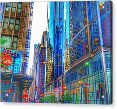 Acrylic Print featuring the photograph Blue Cityscape by Marianne Dow