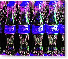 Blue Coca Cola Coke Bottles Acrylic Print by Wingsdomain Art and Photography