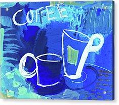 Blue Coffee Acrylic Print by Amara Dacer