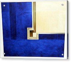 Blue Construktion On White Acrylic Print by Albert Kutzelnig