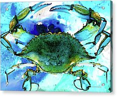 Blue Crab - Abstract Seafood Painting Acrylic Print by Sharon Cummings