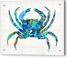 Blue Crab Art By Sharon Cummings Acrylic Print by Sharon Cummings