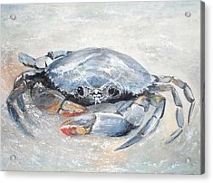 Acrylic Print featuring the painting Blue Crab by Sibby S