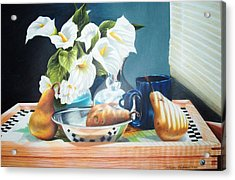 Blue Cup And Pear 3 Acrylic Print by Sylvester Hickmon