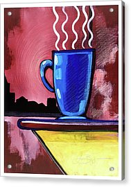 Acrylic Print featuring the mixed media Blue Cup by Lucas Boyd