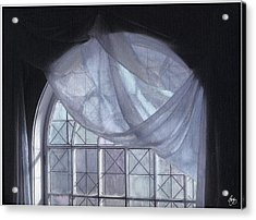 Acrylic Print featuring the photograph Hand-painted Blue Curtain In An Arch Window by Wayne King