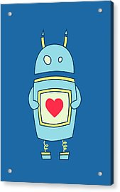 Blue Cute Clumsy Robot With Heart Acrylic Print