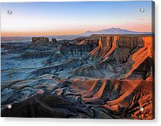 Acrylic Print featuring the photograph Blue Dawn In The Cainville Badlands. by Johnny Adolphson