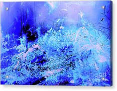 Blue Digital Artwork With Dots And Stripes And Sandstone Finish Acrylic Print