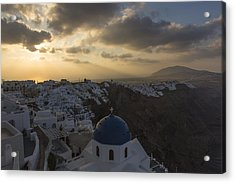Acrylic Print featuring the tapestry - textile Blue Dome - Santorini by Kathy Adams Clark
