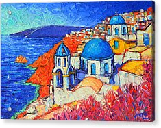 Blue Domes In Oia Santorini Greece Original Impasto Palette Knife Oil Painting By Ana Maria Edulescu Acrylic Print