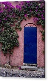 Blue Door And Bougainvilleas Acrylic Print