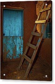 Blue Door And Ladder - Taos Pueblo Acrylic Print by Tim Bryan