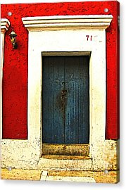 Blue Door By Michael Fitzpatrick Acrylic Print by Mexicolors Art Photography