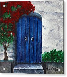Blue Door Acrylic Print by Georgia Pistolis