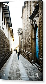 Blue Door In Cusco Acrylic Print by Darcy Michaelchuk