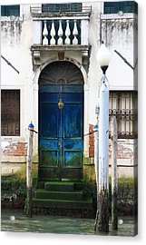 Blue Door On Grand Canal In Venice Acrylic Print by Michael Henderson