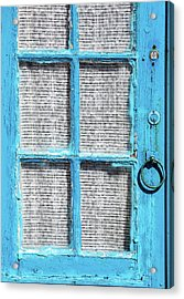 Blue Door Window With White Lace Acrylic Print by David Letts