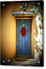 Blue Door With Chiles Acrylic Print by Joseph Frank Baraba