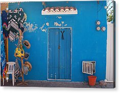 Blue Doors In Mexico Acrylic Print by Mary Pearson